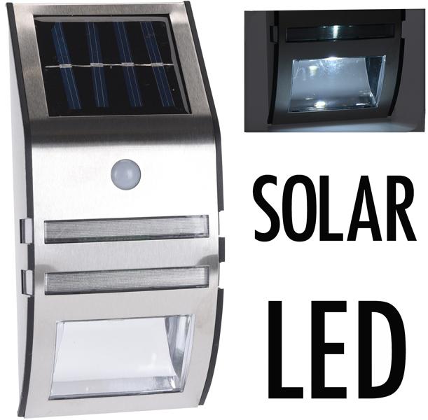 Lamp voor aan muur met bewegingsmelder - RVS - zonne-energie